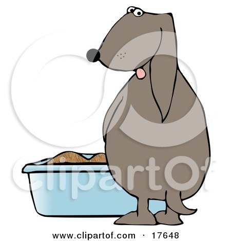 Clipart Illustration of a Silly Dog Pissing in a Litter Box by Dennis Cox