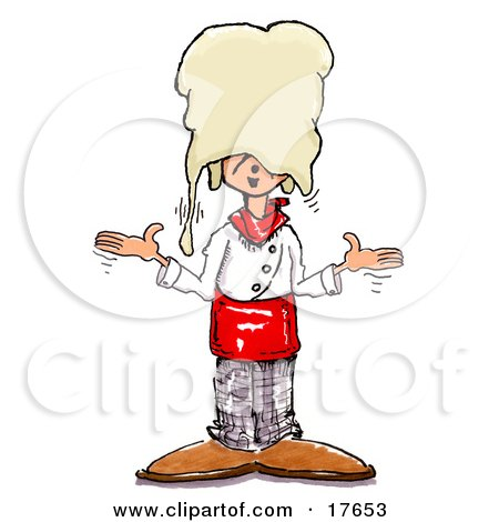 Clipart Illustration of a Silly Chef Shrugging After Accidentally Dropping Hand Tossed Pizza Dough On His Head by Spanky Art