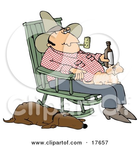 Clipart Illustration of a Man Smoking a Pipe and Drinking a Beer While Sitting in a Rocking Chair With a Cat in His Lap and His Hound Dog at His Side by djart