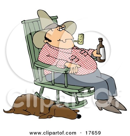 Clipart Illustration of a Hillbilly Smoking A Tobacco Pipe, Drinking Beer And Sitting In A Rocking Chair With His Loyal Old Hound Dog At His Side by djart