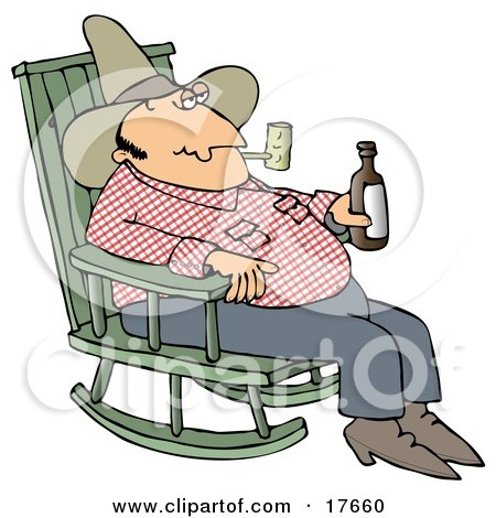 Clipart Illustration of a Hillbilly Cowboy Man Sitting In A Rocking Chair, Drinking Beer And Smoking A Pipe by djart