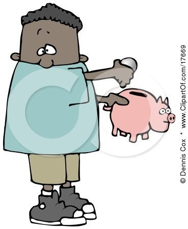 African American Boy Inserting Change Into A Pink Piggy Bank To Save For Something Posters, Art Prints