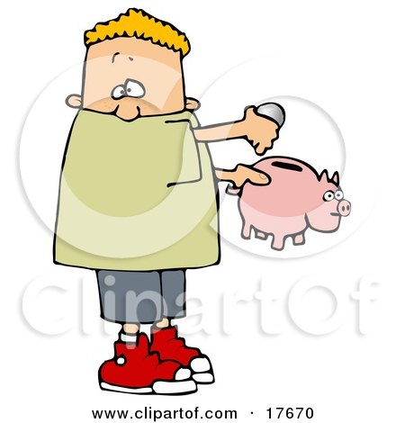 White Boy Inserting Change Into A Pink Piggy Bank To Save For Something Posters, Art Prints