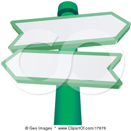 Clipart Illustration of Two Blank Arrow Shaped Street Signs Pointing In Different Directions On A Green Pole by AtStockIllustration