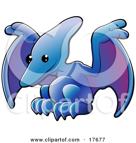 Clipart Illustration of a Cute Blue Pterodactyl Or Pteranodon Dinosaur With Purple Under Its Wings by AtStockIllustration