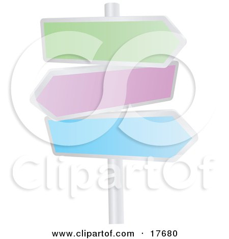 Clipart Illustration of Three Blank Colorful Arrow Shaped Street Signs Pointing In Different Directions On A Pole by AtStockIllustration