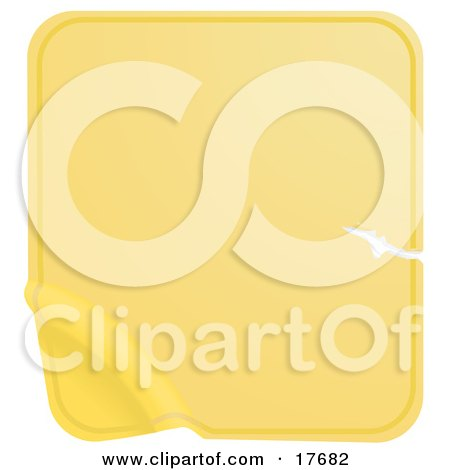 Clipart Illustration of a Blank Yellow Label Sticker With a Scratch, Peeling From the Bottom Corner by AtStockIllustration