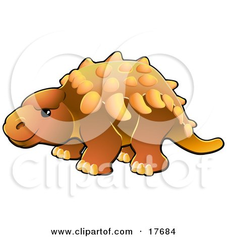 Clipart Illustration of a Cute Orange Armored Dinosaur With Spikes Along Its Back by AtStockIllustration