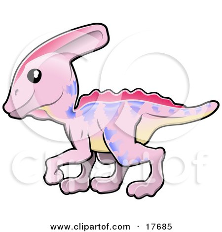 Cute Pink Dinosaur With Purple Markings And A Yellow Belly Posters, Art Prints