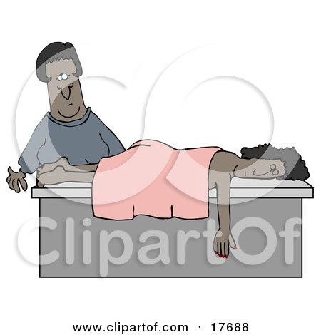 Clipart Illustration of a Female African American Masseuse About To Wake Up A Relaxed Customer That Fell Asleep During A Massage by djart