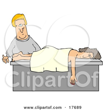 Clipart Illustration of a Female Caucasian Masseuse About To Wake Up A Relaxed Customer That Fell Asleep During A Massage by djart