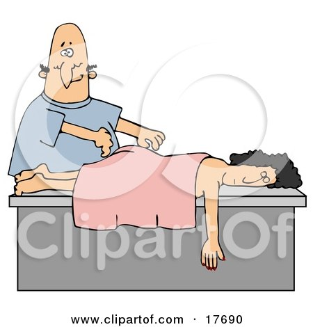 Clipart Illustration of Nervous Bald Caucasian Man Massing A Woman's Back by djart