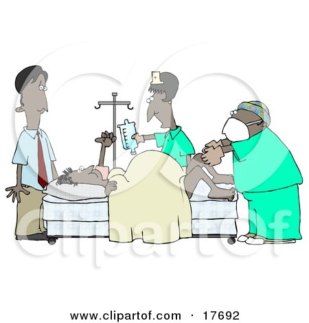 Clipart Illustration of a Terrified African American Man Standing Near His Wife in a Hospital Bed While She Gives Birth With the Assitance of a Gynecologist Doctor and Nurse by djart