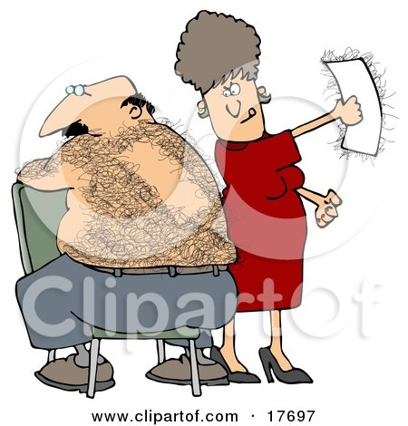 Clipart Illustration of a Caucasian Woman Getting A Thrill Out Of Ripping A Wax Strip Off Of Her Husband's Hairy Back by Dennis Cox