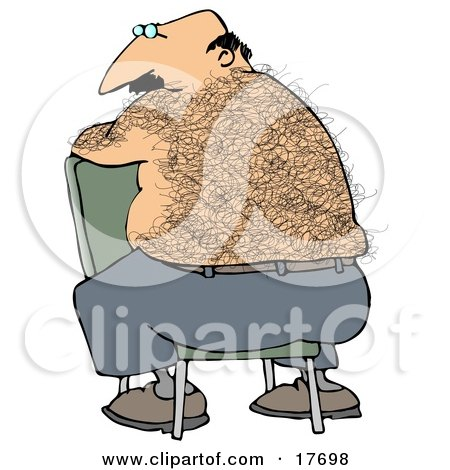 Clipart Illustration of a Bald, Middle Aged Caucasian Man With A Hairy Back Sitting Backwards In A Chair by djart