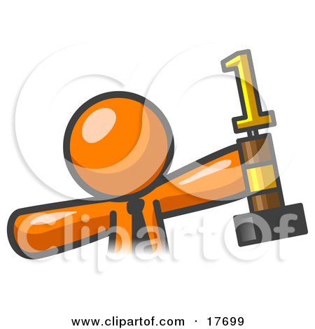 Clipart Illustration of a Proud Orange Business Man Holding Up A First Place Trophy by Leo Blanchette