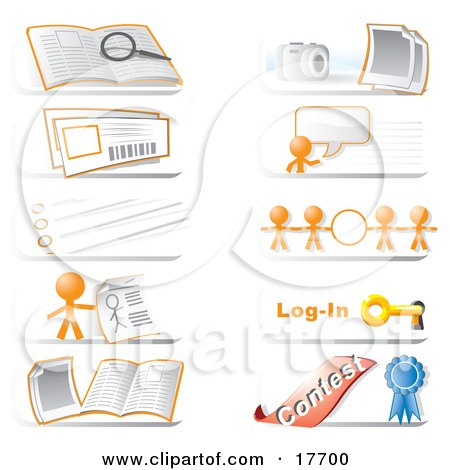 Royalty-Free (RF) Clipart Illustration of a Collection Of Community Hotline Website Icons Featuring The Orange Man Character, A Search, Photos, Live Chat, Information, Links, Login And Contest Icons by Leo Blanchette
