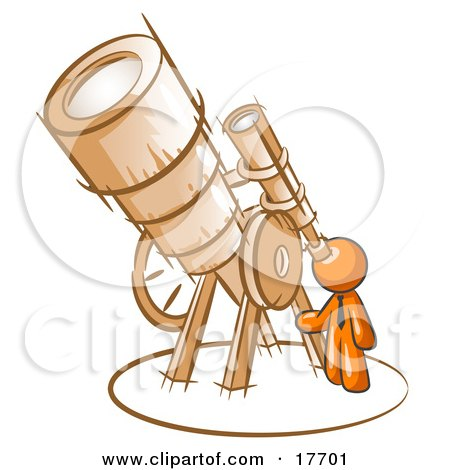 Clipart Illustration of an Orange Man Looking Through A Huge Telescope Up At The Stars In The Night Sky by Leo Blanchette