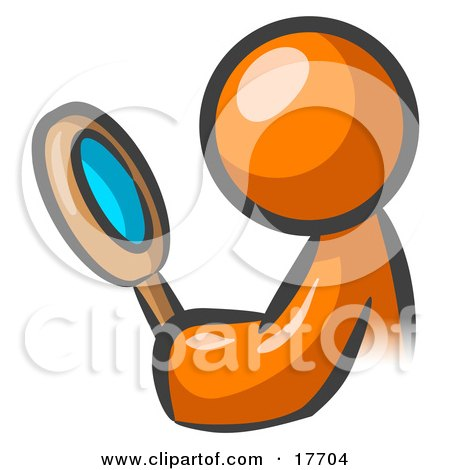 Clipart Illustration of an Orange Man Inspecting Something Through A Magnifying Glass by Leo Blanchette