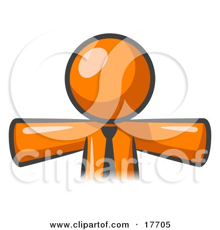 Clipart Illustration of an Orange Businessman Wearing A Tie, Facing Front And Holding His Arms Out At His Sides, Perhaps Ready To Hug Someone Or Symbolizing Freedom After A Long Day At Work by Leo Blanchette