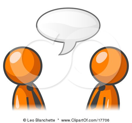 Clipart Illustration of Two Orange Businessmen Having a Conversation With a Text Bubble Above Them by Leo Blanchette