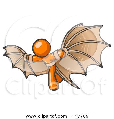 Clipart Illustration of a Determined Orange Man Strapped In Glider Wings, Prepared To Make Flight by Leo Blanchette