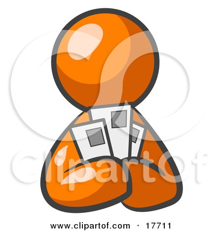 Clipart Illustration of an Orange Man Holding Three Coupons Or Envelopes, Symbolizing Communications Or Savings by Leo Blanchette