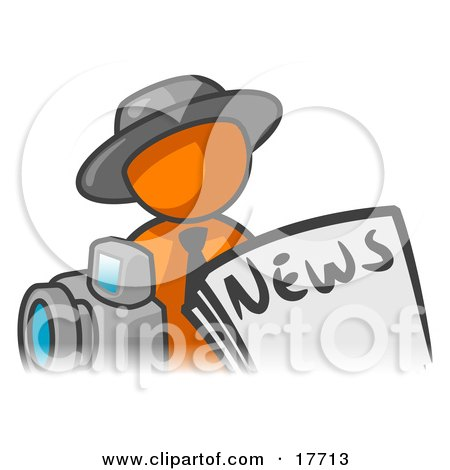 Orange Man Wearing A Hat, Posed In Front Of The News And A Camera Posters, Art Prints