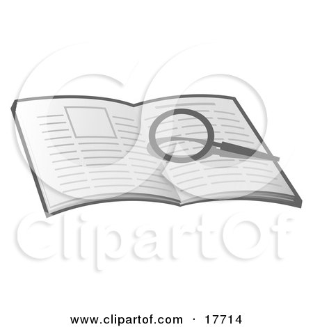 Clipart Illustration of a Magnifying Glass Over An Open Book, Researching And Looking For Information by Leo Blanchette