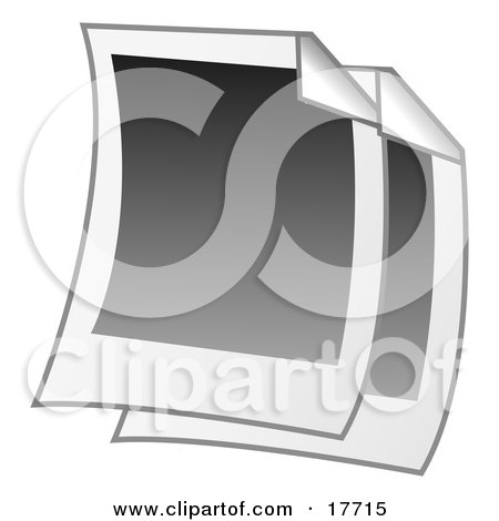 Clipart Illustration of Two Blank Polaroid Pictures With Folded Corners by Leo Blanchette