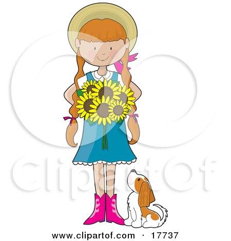 Sunflower Girl Posters, Art Prints