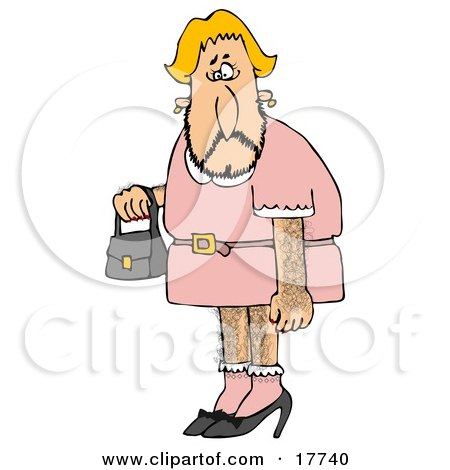 Hairy Blond Male Cross Dresser With Facial, Arm And Leg Hair, Wearing A Pink Dress And High Heels And Carrying A Purse Clipart Illustration by Dennis Cox