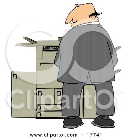 Mischievious Caucasian Businessman Urinating On A Copier Machine In An Office And Looking Back Over His Shoulder Clipart Illustration by djart