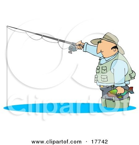 Middle Aged Cuacasian Man Wearing A Hat And Vest, Wading In Water, Holding A Fish And Fishing Clipart Illustration by djart