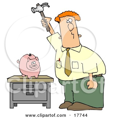 Red Haired Caucasian Businessman Holding A Hammer High Above A Piggy Bank On A Table, Prepared To Break The Bank And Take The Money Out Of Savings Clipart Illustration by djart
