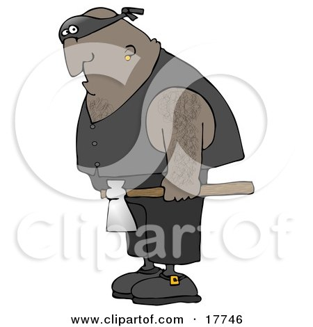 Hairy African American Man, An Executioner, Wearing A Band Around His Eyes And Carrying An Axe Clipart Illustration by djart