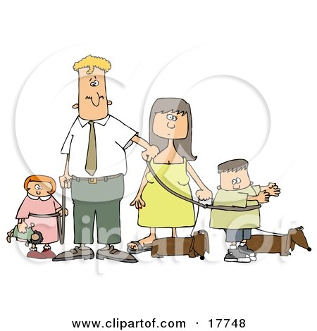 Caucasian Man And Woman Walking Their Dachshund Dogs And Children On Leashes Clipart Illustration by djart