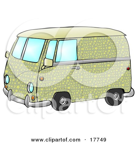 Cool Green And Yellow Hippie Van With Patterns Of Moon And Stars  Posters, Art Prints