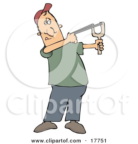 Caucasian Man In A Red Hat, Green Shirt And Blue Pants, Aiming With A Sling Shot Clipart Illustration by djart