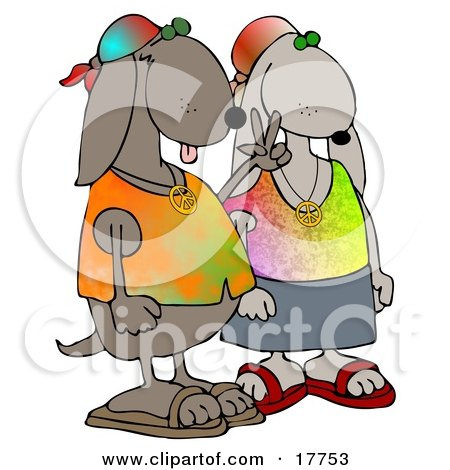 Cool Hippie Dog Couple Wearing Tie Dye Shirts And Sandals, One Dog Flashing The Peace Sign Clipart Illustration by djart