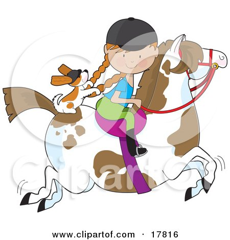 Clipart Illustration of a Little Girl Riding A Painted Pony With A Cavalier King Charles Spaniel Sitting Behind Her, Holding On To Her Braids by Maria Bell