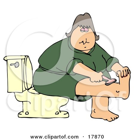 Clipart Illustration of a Middle Aged Caucasian Woman In A Green Robe, Sitting On A Toilet In A Bathroom And Shaving Her Leg by djart