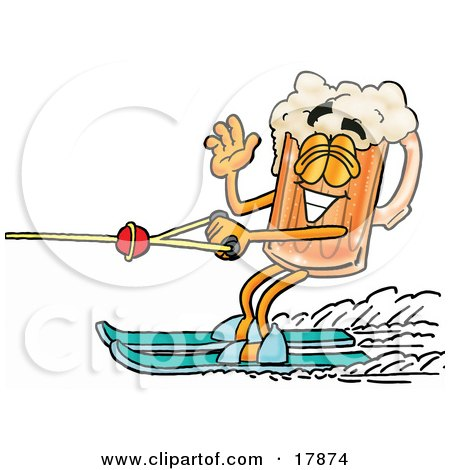 Clipart Picture of a Beer Mug Mascot Cartoon Character Waving While Passing by on Water Skis by Toons4Biz