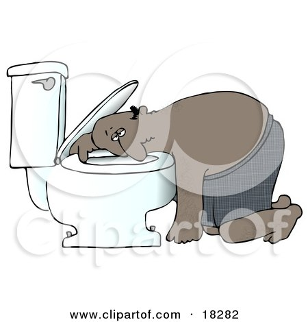 Clipart Illustration of a Sick Black Man Resting His Head on the Toilet Bowl After Puking by djart