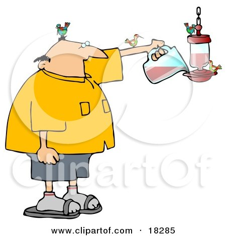 Clipart Illustration of a Balding White Man Surrounded by Hummingbirds, Filling a Feeder Full of Red Nectar by djart