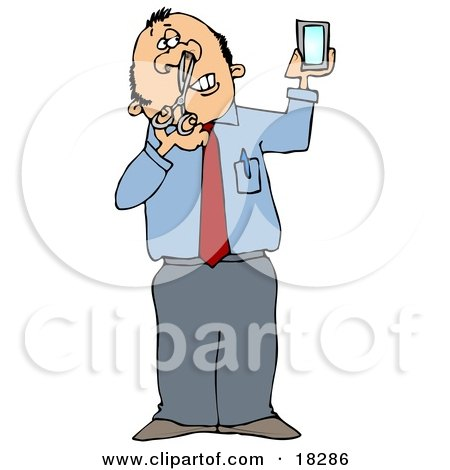 Clipart Illustration of a White Businessman Holding a Mirror and Trimming His Nose Hairs by djart