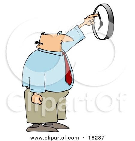 White Businessman, Anxious to End the Work Day, Moving the Hands of a Wall Clock Posters, Art Prints