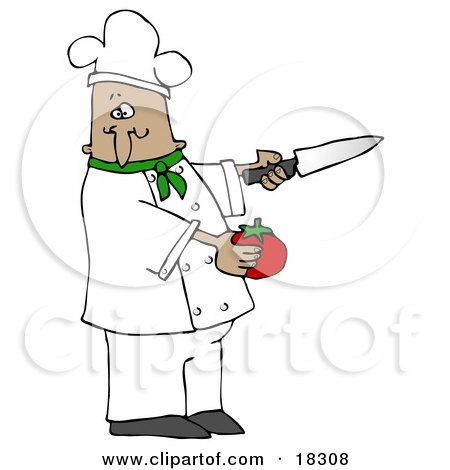 Clipart Illustration of a French or Latin Male Chef in a Green Collared Chefs Jacket and White Hat, Preparing to Slice a Tomato While Cooking in a Kitchen by djart
