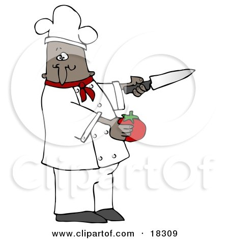 Clipart Illustration of a Black Male Chef in a Red Collared Chefs Jacket and White Hat, Preparing to Slice a Tomato While Cooking in a Kitchen by djart
