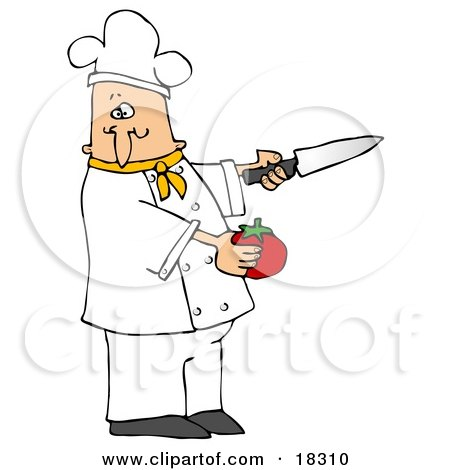 Clipart Illustration of a White Male Chef in a Green Collared Chefs Jacket and White Hat, Preparing to Slice a Tomato While Cooking in a Kitchen by djart